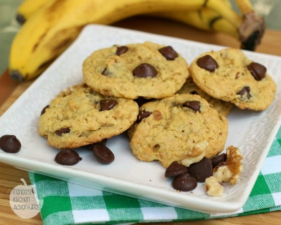 Plate of Chunky Monkey Cookies: bananas, walnuts, and chocolate