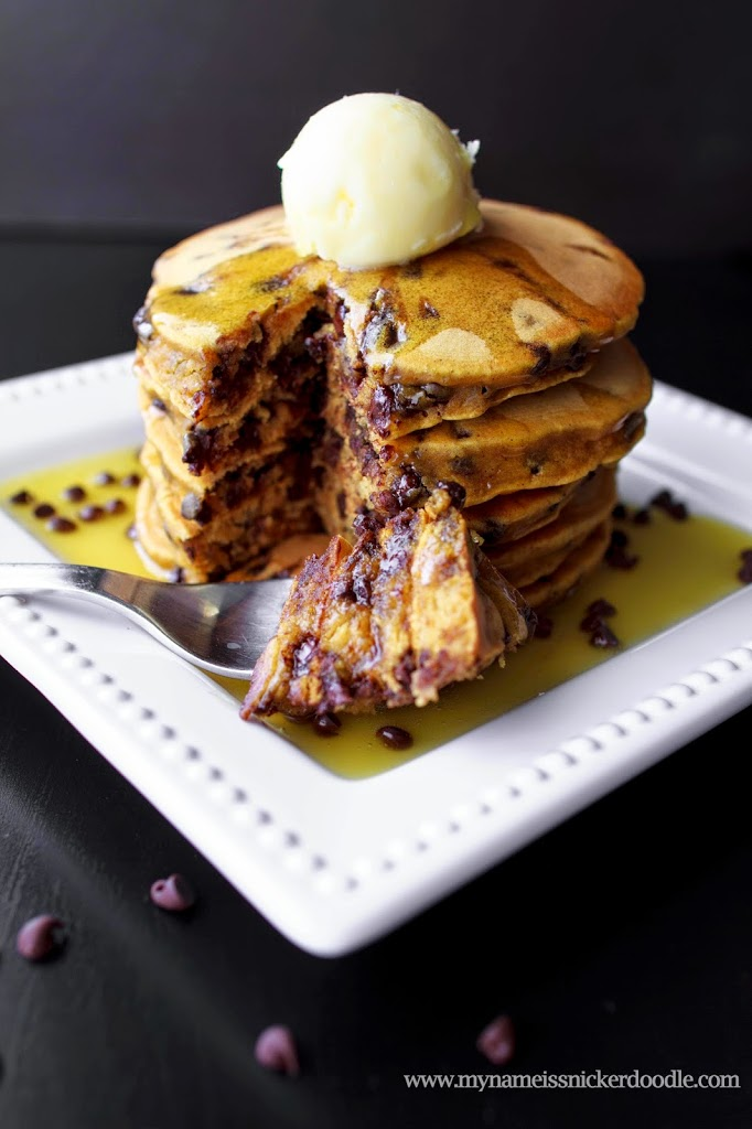 Pumpkin Chocolate Chip Pancakes with an Orange Buttercream Sauce | My Name Is Snickerdoodle