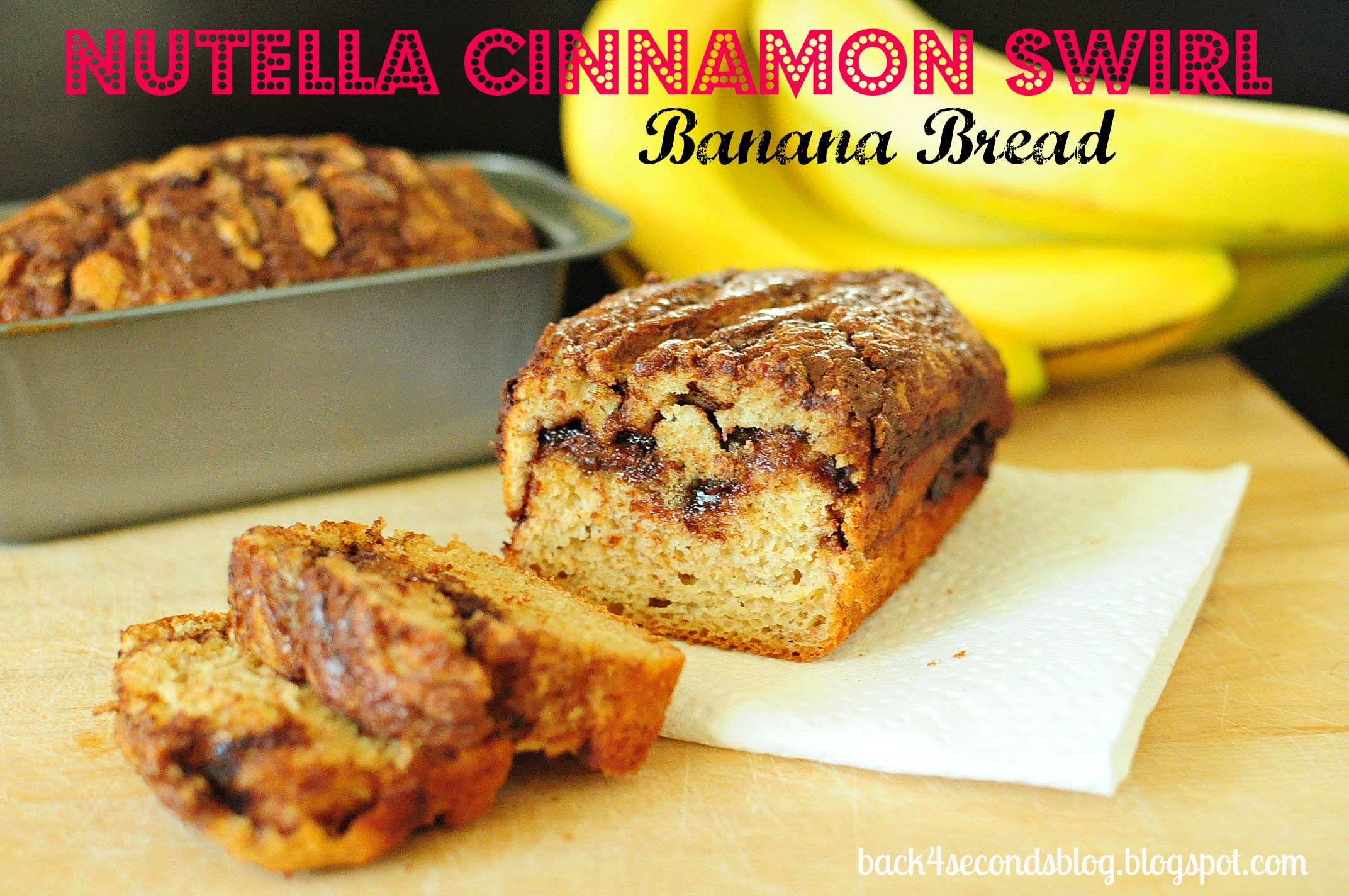 Skinny Nutella Cinnamon Banana Swirl Bread @BackForSeconds backforsecondsblog.com