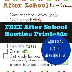 FREE After School Routine Printable