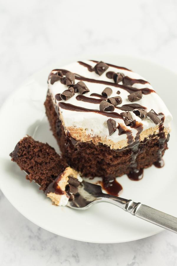 Chocolate Pumpkin Poke Cake