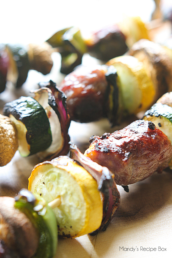 Brat and Veggie Kabobs