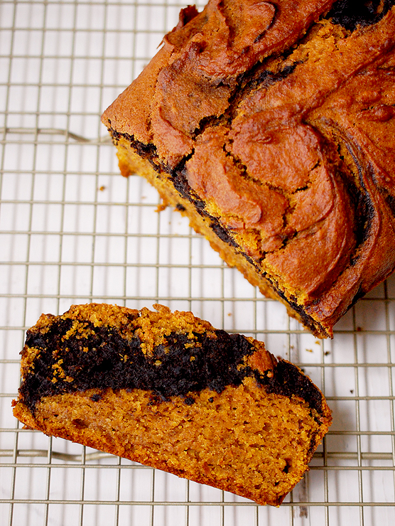 Pumpkin Chocolate Marbled Bread